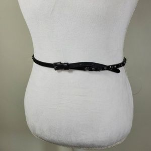 J. Crew Black Studded Skinny Belt Size Small